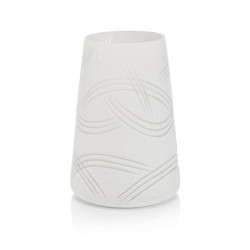 Etched Glass Vase in Summer White - Medium