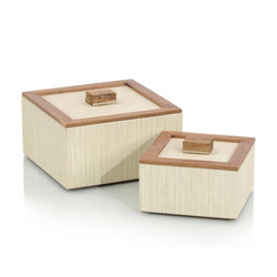 Set of Two White Confetti Leather and Wood Boxes