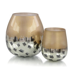 Set of Two Gold and Black Deco Dots Glass Vases