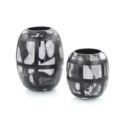 Set of Two Black-and-White Glass Vases