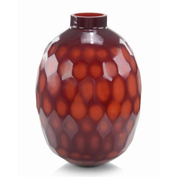 Ruby Red Etched Glass Vase II