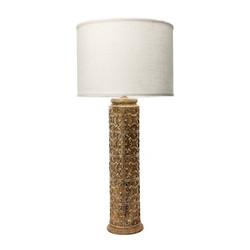 """31"""" Fluer De Lis Aged Stone Lamp"""
