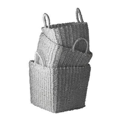 Nested Recycled Twisted Silver Foil Basket Set
