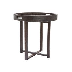 Large Round Black Teak Side Table Tray
