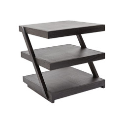 Stacked Black Teak Side Table