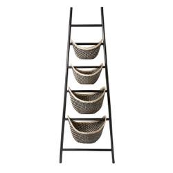 Black Plaid Ladder Basket