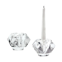 Faceted Star Crystal Candleholders - Set Of 2
