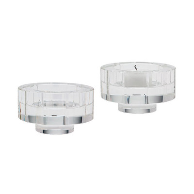Round Windowpane Crystal Candleholders - Set Of 2