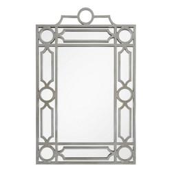 Distressed Silver Leaf Mid Century Mirror