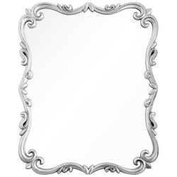 Distressed Silver Leaf Scrolled Mirror