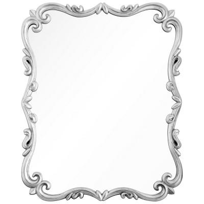 Distressed Silver Leaf Scrolled Mirror