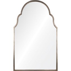 Antiqued Silver Leaf Iron Arch Mirror
