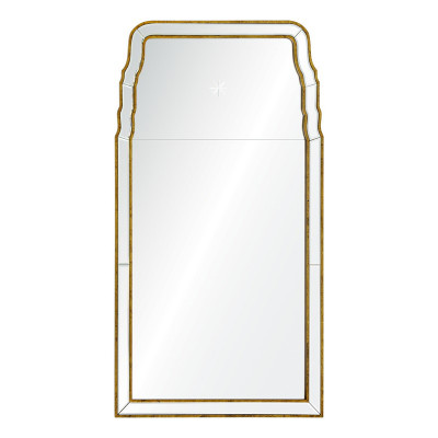Ordinaire Mirror Image Home Distressed Gold Leaf Queen Anne Mirror With Etched Star