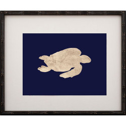 Gold Leaf Turtle - Right Facing on Navy Paper