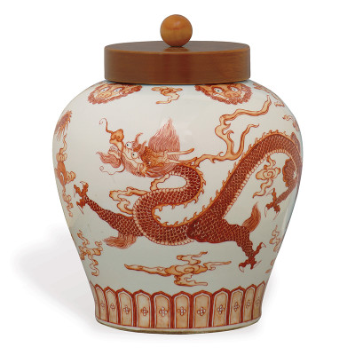 Dragon Jar W/ Lid