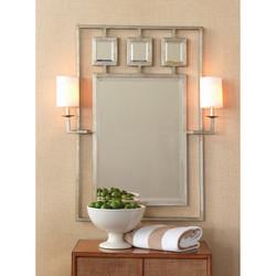 Avenue Silver Mirror With Sconces
