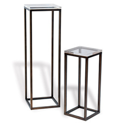 Drake Bronze/Lucite Pedestals- Set Of 2