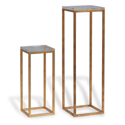Drake Gold/Lucite Pedestals- Set Of 2