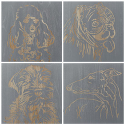 Dog Panels- Set Of 4