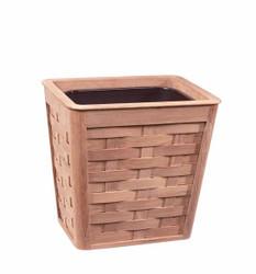 Woven Teak Wastebasket With Insert