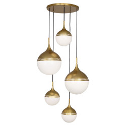 Jonathan Adler Rio Multi Globe Chandelier - Antique Brass