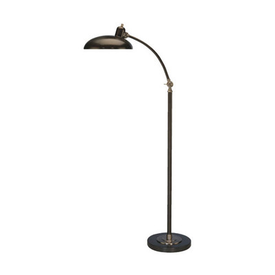 "Bruno Adjustable ""C"" Arm Task Floor Lamp - Lead Bronze"