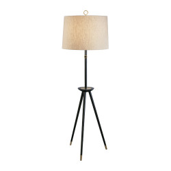 Jonathan Adler Ventana Floor Lamp - Ebonyed Wood w/ Antique Brass