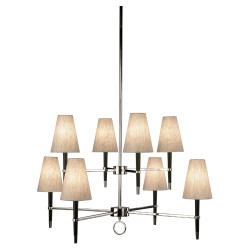 Jonathan Adler Ventana 2 Teir Chandelier - Ebonyed Wood w/ Polished Nickel