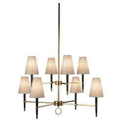 Jonathan Adler Ventana 2 Teir Chandelier - Ebonyed Wood w/ Antique Brass
