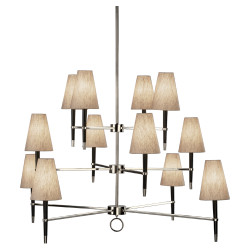 Jonathan Adler Ventana 3 Teir Chandelier - Ebonyed Wood w/ Polished Nickel