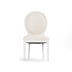 Medallion Side Chair - White Cotton and Antique White Finish