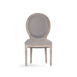 Medallion Side Chair - Grey Linen and Limed Grey Oak