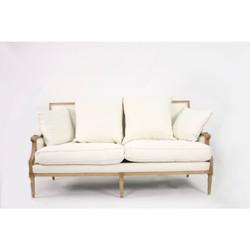 Louis Sofa - White Cotton and Natural Oak