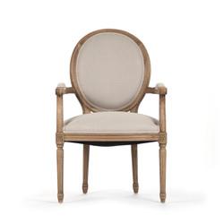 Medallion Arm Chair - Natural Linen and Natural Oak