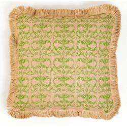 Green Damask Repeat Burlap Pillow