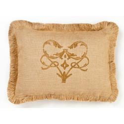 Brown Damask Single Burlap Pillow
