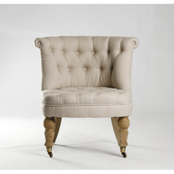 Amelie Slipper Chair - Natural Linen and Natural Oak