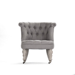 Amelie Slipper Chair - Grey Linen and Limed Grey Oak