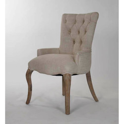 Iris Tufted Chair - Cream Natural Linen and Recycled Oak