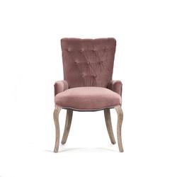 Iris Tufted Chair - Velvet and Limed Grey Oak