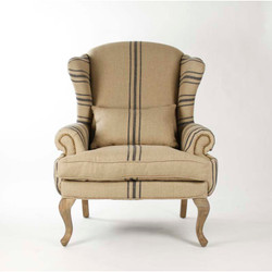 Zacharie Club Chair - English Khaki Linen with Blue Stripe and Recycled Oak