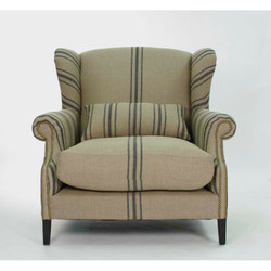 Napoleon Half Wingback Chair - English Khaki Linen with Blue Stripe and Oak