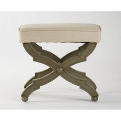 Crescenzo Single Bench - Hemp Fabric Faux Olive Green Finish
