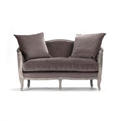 Maison Settee - Velvet and Limed Grey Oak