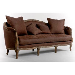 Maison Sofa - Aubergine Linen and Limed Grey Oak