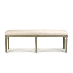 Louis Tufted Bench - Off White Cotton Linen and Birch with Faux Olive Green Finish
