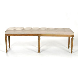 Louie Tufted Bench - Natural Linen and Natural Oak