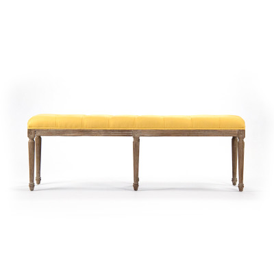 Louis Tufted Bench - Yellow Linen and Limed Grey Oak