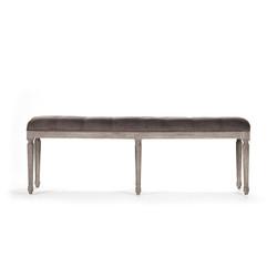 Louis Tufted Bench - Velvet and Limed Grey Oak