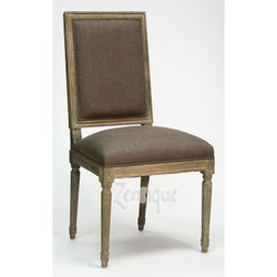 Louis Side Chair - Aubergine Linen and Limed Grey Oak